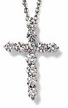 Tiphany Cross Shared Prong Set Round Cubic Zirconia Pendant