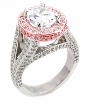 TomKat Oval Cubic Zirconia Pave Halo Split Shank Solitaire Engagement Ring Series