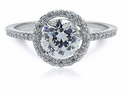 Tori 1 Carat Round Cubic Zirconia Micro Pave Halo Solitaire Engagement Ring