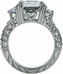 Emerald Cut Cubic Zirconia Trapezoid Scintillation Wedding Set with Contoured Band