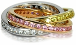 Tri Color Channel Set Round Cubic Zirconia Rolling Ring Trinity Ring Russian Wedding Ring Eternity Band