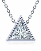 Triangle Trillion Bezel Set Cubic Zirconia Solitaire Pendants