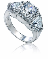 Triesse 2.5 Carat Emerald Cut Cubic Zirconia Trillion Micro Pave Halo Engagement Ring
