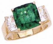 Tsoler 5.5 Carat Cubic Zirconia Cushion Cut Man Made Emerald Gemstone Three Stone Ring