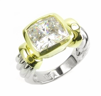 Two Tone Bezel Set 4 Carat Cushion Cut Ribbed Shank Style Solitaire Engagement Ring