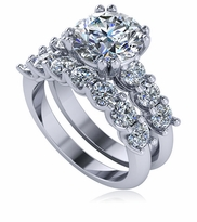 Ursula 2.5 Carat Scalloped Shared U Prong Set Cubic Zirconia Solitaire and Matching Band Wedding Set
