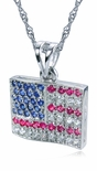 USA American Flag Cubic Zirconia Pendant Necklace