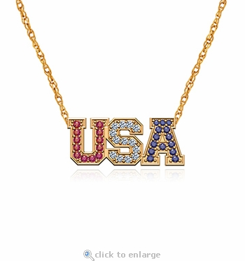 USA Necklace United States Of America Cubic Zirconia Red White Blue Pave Pendant