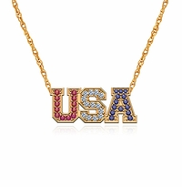 USA Necklace United States Of America Red White Blue Pave Pendant
