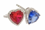 Valentina 7 Carat Heart Shaped Sapphire or Ruby Man Made Gemstone Pave Cubic Zirconia Halo Solitaire