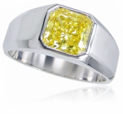 Valentino 1.5 Carat Princess Cut Bezel Set Canary Cubic Zirconia Unisex Ring