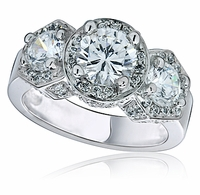 Vanessa 1.25 Carat Center Three Stone Round Micro Pave Cubic Zirconia Halo Ring