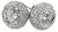 Venetia Cubic Zirconia Bezel Set Round Pave Stud Earrings