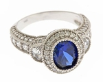Veranda 1 Carat Oval Halo Lab Created Sapphire Center Antique Estate Style Engagement Ring