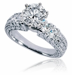 Verona 2 Carat Round Cubic Zirconia Princess Cut Engraved Wedding Set
