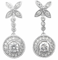Vertu Vintage Floral Halo Cubic Zirconia Round Drop Earrings