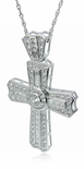 Vicenza Pave Set Round Cubic Zirconia Channel Set Princess Cut Cross Pendant