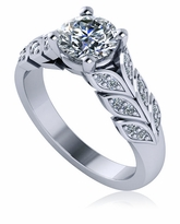 Volantini 1 Carat Round Pave Leaves Style Cubic Zirconia Solitaire Engagement Ring