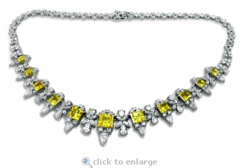 Weston Princess Cut Pear Round Marquise Cubic Zirconia Garland Statement Necklace