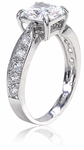 Cubic Zirconia Pear Halo Ring
