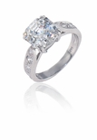 Winston 1.5 Carat Asscher Cut Cubic Zirconia Cathedral Pave Solitaire Engagement Ring
