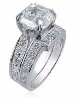 Winston 2.5 Carat Asscher Inspired Cubic Zirconia Cathedral Pave Bridal Set with Contoured Matching Band