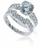 Winston 2.5 Carat Round Cubic Zirconia Cathedral Pave Bridal Set with Contoured Matching Band