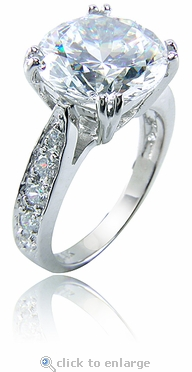 Winston 2.5 Carat Round Cubic Zirconia Pave Cathedral Solitaire Engagement Ring