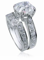 Winston 4 Carat Asscher Inspired Cubic Zirconia Cathedral Pave Bridal Set with Contoured Matching Band