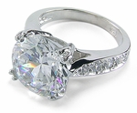 Winston 4 Carat Round Cubic Zirconia Pave Cathedral Solitaire Engagement Ring
