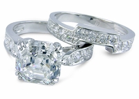 Winston 5.5 Carat Asscher Inspired Cubic Zirconia Cathedral Pave Bridal Set with Contoured Matching Band