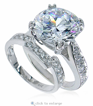 Winston 5.5 Carat Round Cubic Zirconia Cathedral Pave Bridal Set with Contoured Matching Band