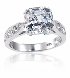 Winston 5.5 Carat Asscher Cut Cubic Zirconia Cathedral Pave Solitaire Engagement Ring