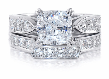 Winston Cathedral Cushion Cut Cubic Zirconia Pave Bridal Set with Contoured Band