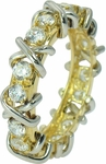 X's & O's Round Cubic Zirconia Two Tone Eternity Band
