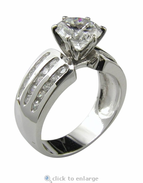 Xena 1.5 Carat Round Cubic Zirconia Three Row Channel Set Solitaire Engagement Ring
