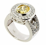 Marsay 2.5 Carat Lab Created Canary Oval Cubic Zirconia Halo Art Deco Ring