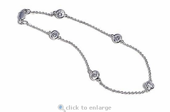 Ziamonds By The Yard Diamond Look Cubic Zirconia Station Bracelet