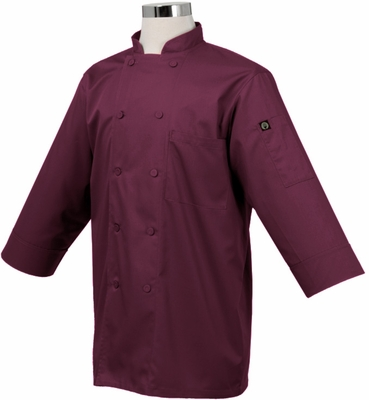MOROCCO BURGUNDY Wine 3/4 Sleeve Chef Jacket