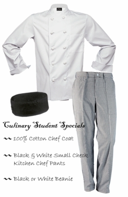 Chef Clothing - 100% Cotton Coat, Check Pants & Beanie