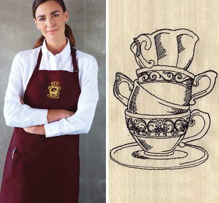 Antique Teacup Stack Embroidered Apron