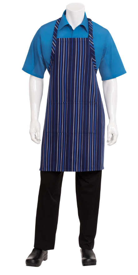 navy french blue and white stripe striped bib apron. Black Bedroom Furniture Sets. Home Design Ideas