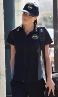 GRAY and BLACK Contrasting<br> Waitress Uniform Shirt
