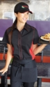 RED and BLACK Contrasting Waitress Uniform Shirt