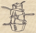 Designer Pot Stack Embroidered Apron