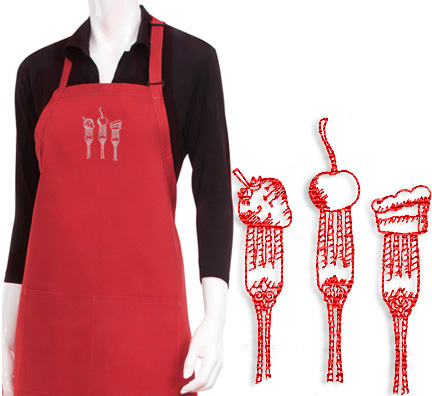 Designer Tasty Bites Embroidered Apron