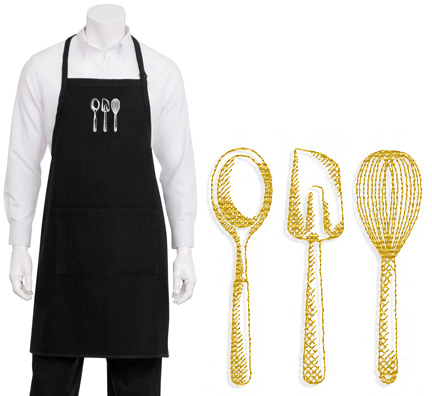 Designer Baking Utensil Embroidered Apron