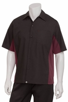 BURGUNDY and BLACK <br> Waiter Uniform Shirt