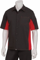RED and BLACK Contrasting Waiter Uniform Shirt