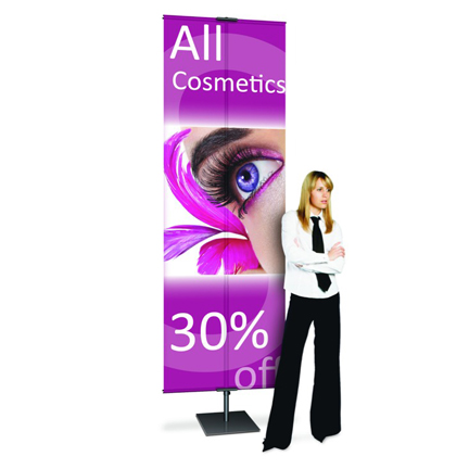 The Zephyr Outdoor Banner Stand Supports 2 X 5 To 3 6 Banners With Grommets Base Can Be Filled Water Add Extra Weight For